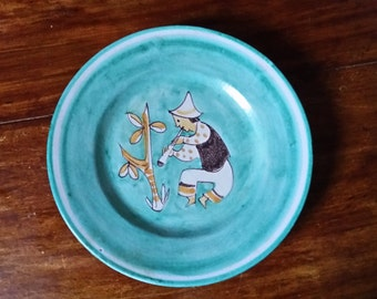 Plate Hand Painted Stoneware Pottery Turquoise Musician Folk Art