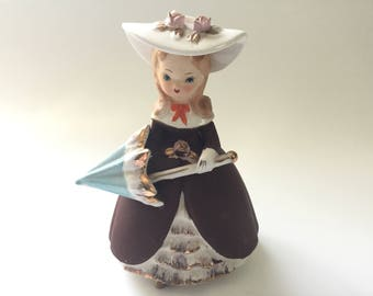 Vintage Girl Figurine/LeGo Ceramic Girl Figurine with Sun Hat and Umbrella/Leo Goldman Imports/Made in Japan/1950s-1960s