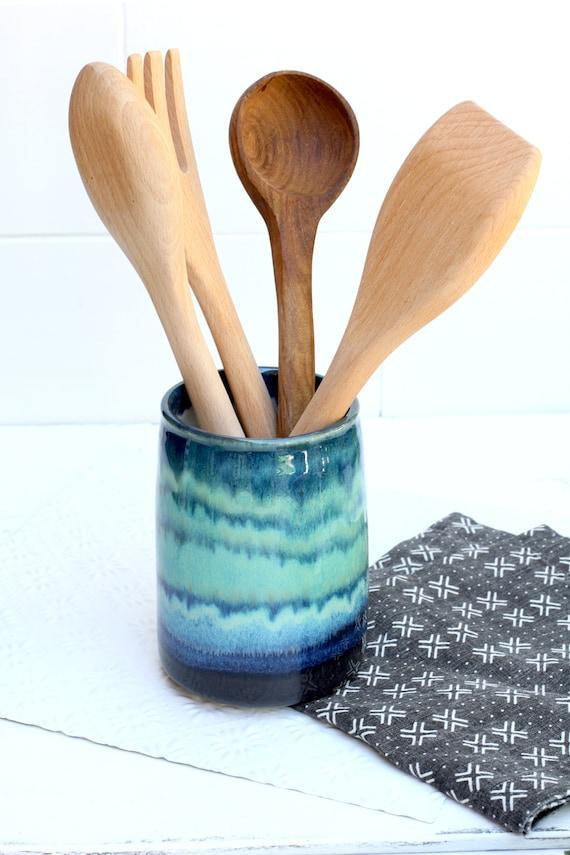 handmade pottery Vase // utensil holder // utensil crock //  ceramic crock