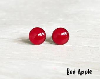 Bad Apple red stud earrings, Lightweight earrings, red ost earrings, Hypoallergenic earrings, Red studs, Ear Sugar earrings, Red jewelry