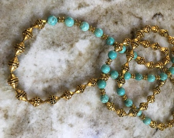 Turquoise Howlite and Old Gold Necklace