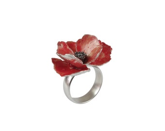 Poppy ring. Red poppy silver ring. Flower ring. Red flower ring. Realistic poppy ring in sterling silver.