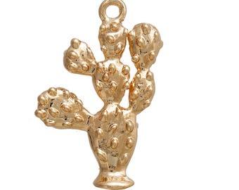 """2 Breloques """"Plante/Cactus"""" en métal doré de 2,6cm / Collection Tropical"""
