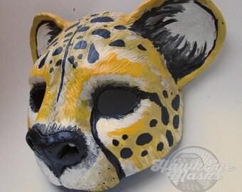 fantasy Masquerade cat mask, Cheetah, animal mask, wildlife spirit, costume mask, spotted big cat mask, yellow and black, halloween costume
