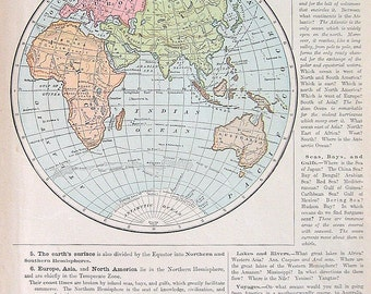 the eastern hemisphere world map 1899 antique map antique world atlas map