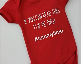 If you can read this flip me over tummy time baby onsie
