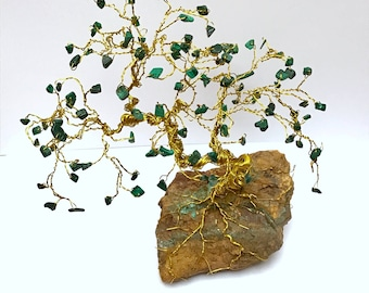 Wire Wrapped Bonsai, Malachite Gem Trees, Bonsai Sculpture, Crystal Trees, Jewel Trees