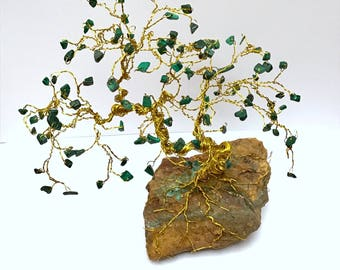 Malachite Gem Trees, Wire Bonsai Sculpture, Crystal Trees, Jewel Trees, Tree of Life Decor