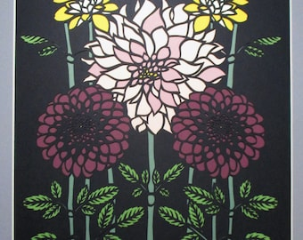 "16x20"" Art Deco Dahlias Paper Cutting  Handmade, Flowers"