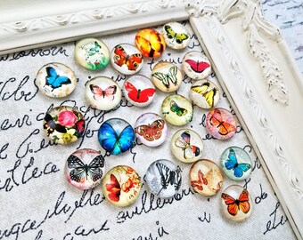 Butterfly magnets - girls room magnets - decorative magnets - cute glass magnets #M40