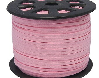 1 YD Strand Pink Suede Cord - Microfiber Faux Suede Cord -2.5mm - Jewelry making Stringing Material  -W0290