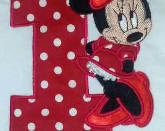 Red Standing Minnie Mouse 1st Birthday Onesie  Personalized