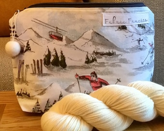 Yarn, knitting, crochet, ski bag, wip project bag, zipper pouch, progress keeper stitch marker, winter olympics