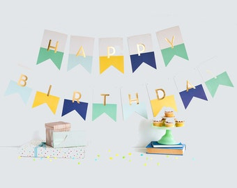 Happy Birthday Banner | Birthday Party Decor Happy Birthday Sign First Birthday Decor Birthday Party Banner 1st Birthday Mint Navy Blue HRP