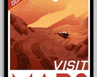 Visit Mars Space Poster
