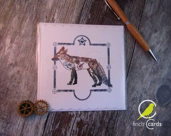 Steampunk Fox Blank Card, Fox Card, Steampunk Card, UK