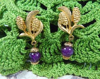 Vintage Gold Floral and Purple Bead Pierced Earrings - V-EAR-534 - Gold and Purple Earrings - Purple and Gold Pierced Earrings