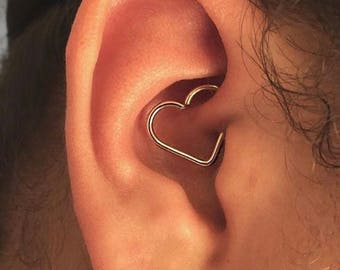 Cartilage Heart Earring, Daith Piercing, Helix, Tragus, Rook, Eyebrow, Conch, Snug, 925 Sterling Silver, Ear Hoop, Upper ear