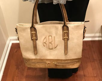Classy Brown Leather Tote - Monogram Leather Tote Handbag -  Leather Shoulder Bag  - Double Zipper Tote