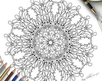Printable Adult Colouring Page Gems Filigree
