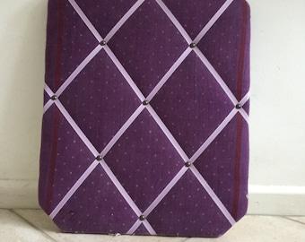 Purple White Polkadot Vintage Linen Fabric Nautical Dotty Spots Large Pinboard 51 x 41 cms 20 x 16 inches