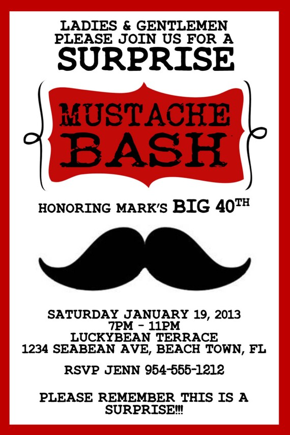 Red mustache bash invitation template 4x6 stopboris Image collections