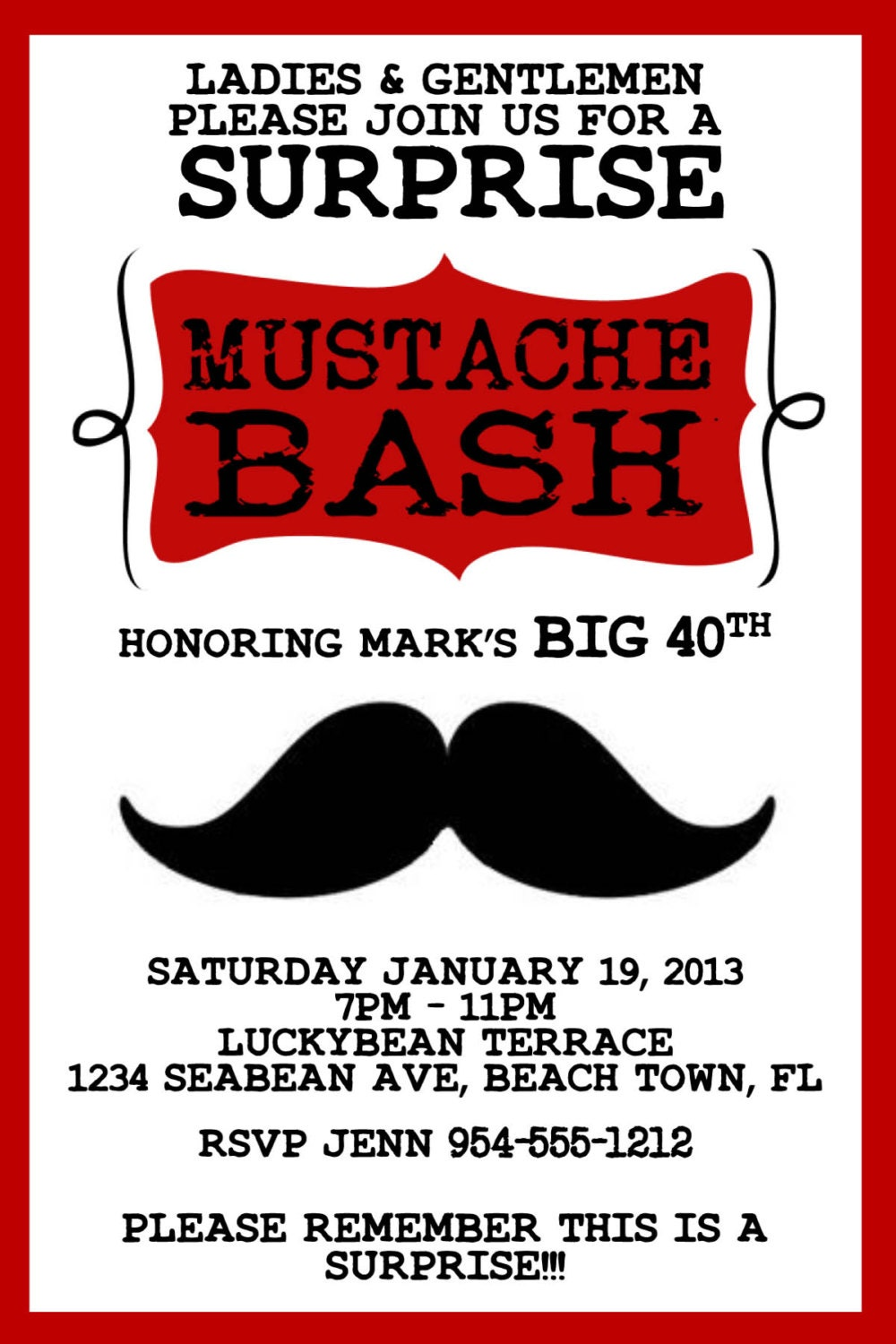 RED Mustache Bash Invitation Template 4X6