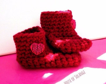 Red Baby Booties, Heart Detail Baby Boots, Crocheted Booties, Handmade Red Baby Boots, Canada