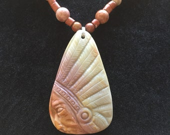 Succor Creek Jasper Carved Native American Pendant, Free Shipping