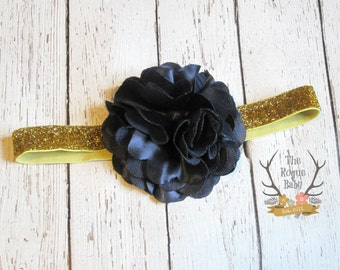 Navy Gold Headband with Satin Tulle Flower - Glitter - Dark Blue - Gold -  Baby Infant Toddlers Girls Women Flower Girl Navy Winter Wedding