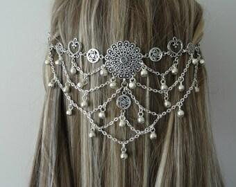 Hair Jewlery Bridal Headpiece Wedding Headpiece Festival Head Chain Boho Headpiece Head Piece Head Chain Burning Man Body Jewelery