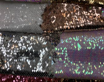 New Flip up Sequins Fabric Reversible Two Tone Sold By the Yard- colors in listing 5 different shades