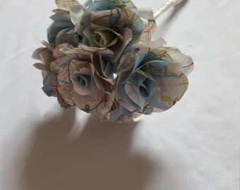 British map wedding bridesmaid bouquet with handmade paper roses