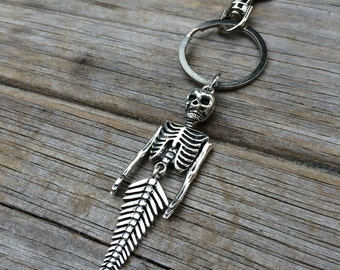 Mermaid Skeleton Charm Keychain, Nautical Keychain, Ocean Keychain, Skull Keychain, gifts for her