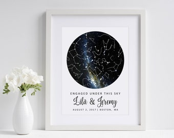 Engaged Under This Sky | Custom Sky Map | Personalized Star Map | Engagement Gift for Couple | Paper Anniversary Gift | Fiance Gift