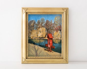 "Original Oil Painting, Plein Air Study, Munich Landscape, 24cm x 30cm, ca. 9,44"" x 11,8"""