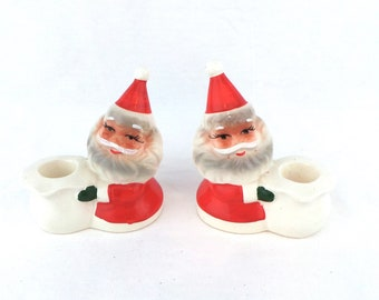Brinn's Santa Candle Holders, Christmas Candleholders