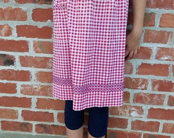 Vintage 1960s Half Apron - Red Blue Gingham Apron - Mid Century Embroidered Apron - Handmade