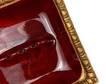 Vintage Mid Century Calif. Original Gold & Scarlet Red Ashtray
