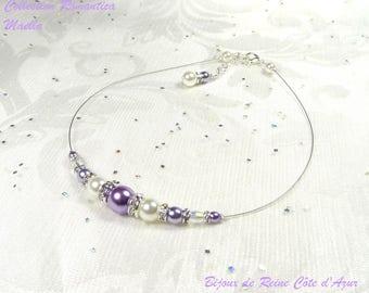 Bridal necklace rhinestone purple white, purple white purple wedding - Romantica Collection - Lily bridal wedding necklace