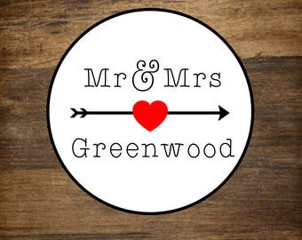 """Personalized wedding stickers, custom favor labels, 1"""" round stickers, set of 63, Matte white or Kraft brown, custom names with arrow"""