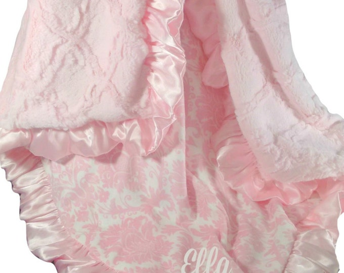 Personalized Pink Damask and Sculpted Lattice Minky Blanket for a Baby Girl, three sizes