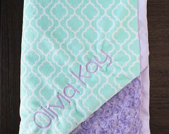 Embroidered Minky Blanket, Custom blanket, blanket with name, gift for baby, baby girl, mint blanket, mint and purple, frozen, baby gift