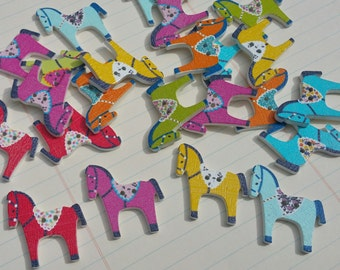 """Wood Horse Buttons - Wooden Pony Button - Bulk Sewing Buttons - 1 1/4"""" Wide"""