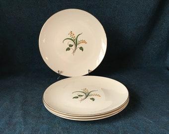 Vintage Knowles China Forsythia Dinner Plates Set of 4 & Knowles Freda Diamond Wheat China Dinner Plates Bread