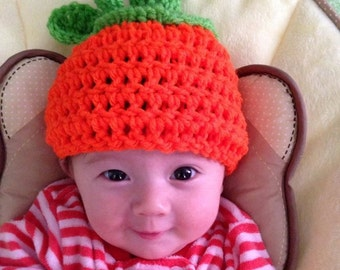 Crochet Pumpkin Beanie, Newborn, toddler, children's pumpkin hat, Halloween hat, Halloween pumpkin hat