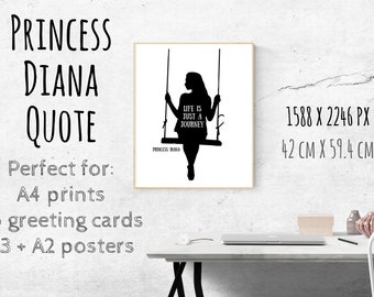 Life is just a Journey- Princess Diana Quote, girl on a swing, own your journey, live your journey, motivational journey quotes, life quotes