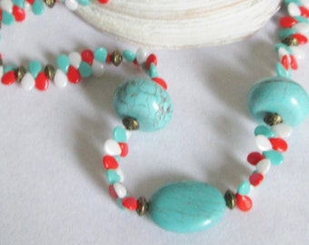 Turquoise Gemstone and Pip Beaded Necklace Set, Turquoise,  Red Orange and White Pip Czech Glass Beads, Fun and Funky Diva Gal, OOAK, Boho