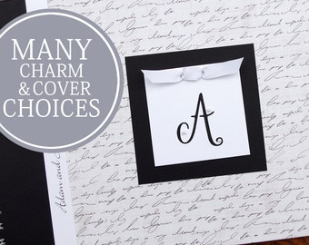 First Anniversary Gift | Anniversary Journal | Paper Anniversary Gift | Personalized | Engagement | Script Cover with Initial Charm