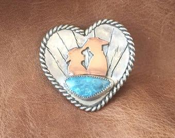 Sterling Silver  Western lover's heart pendant